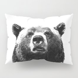 Black and white bear portrait Pillow Sham