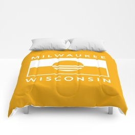 Milwaukee Wisconsin - Gold - People's Flag of Milwaukee Comforters