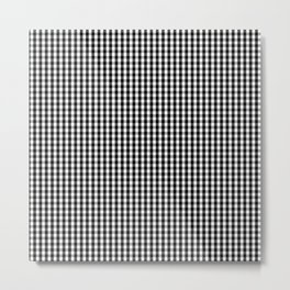 Classic Small Black & White Gingham Check Pattern Metal Print