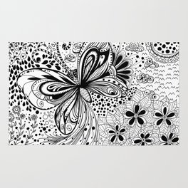 Butterfly and flowers, doodles Rug