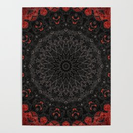 Red and Black Bohemian Mandala Design Poster