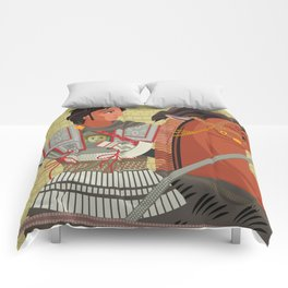 alexander the great mosaic riding a horse Comforters