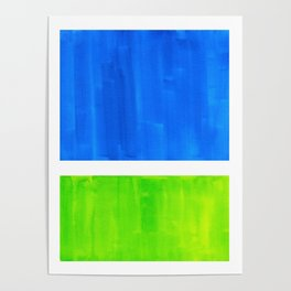 Abstract Minimalist Mid Century Modern Watercolor Geometric Squares Rothko Lime Green Marine Blue Poster