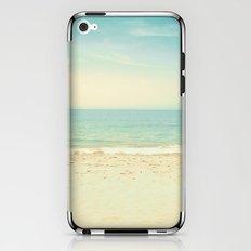 Pale blue retro beach  iPhone & iPod Skin