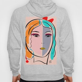 Pastel Pop Art Girl Portrait Minimalist Hoody