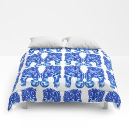 Chinese Guardian Lion Twins in Blue Porcelain Comforters
