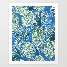 LAPIS PINEAPPLE O'CLOCK Tropical Print Art Print