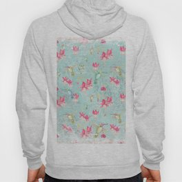 Vintage Watercolor hummingbird and Fuchsia Flowers on mint Background Hoody