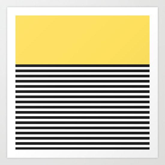 STRIPE COLORBLOCK {LEMON} Art Print