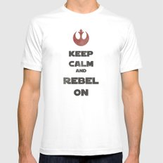 Keep Calm and Rebel On White MEDIUM Mens Fitted Tee