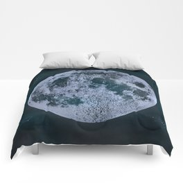 Large Night Sky Moon Print, by Christy Nyboer Comforters
