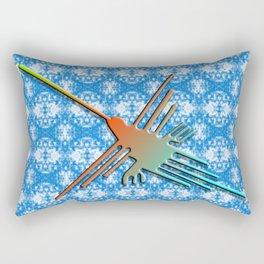 Nazca Lines Hummingbird On Abstract Background Rectangular Pillow