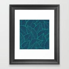 Blue Green Leaves Framed Art Print