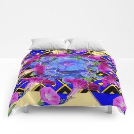Abstract Blue-Cream Purple Morning Glories Art Comforters