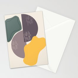 Contemplation, Mid Century Modern Art Gold Gray Stationery Cards