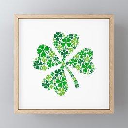 lucky four leaves clover Framed Mini Art Print