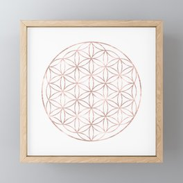 Mandala Rose Gold Flower of Life Framed Mini Art Print