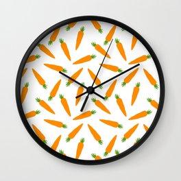 CARROT CARROTS VEGGIE FOOD PATTERN Wall Clock