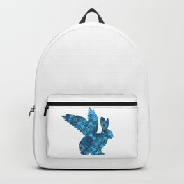 Blue Aqua Turquoise Flying Rabbit Print Backpack