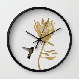 Hummingbird & Flower I Wall Clock
