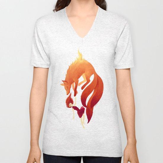 Fire Fox Unisex V-Neck