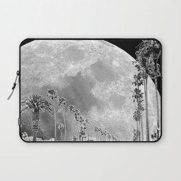 California Dream // Moon Black and White Palm Tree Fantasy Art Print Laptop Sleeve