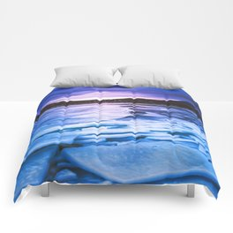 Lake Effect // Frozen Ice Water Sunset Mountain Landscape Photography Pink Purple Blue Clouds Comforters