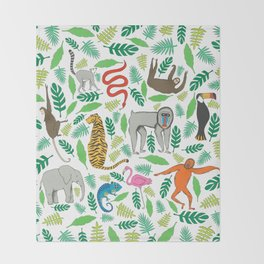 Animals in the Jungle Throw Blanket