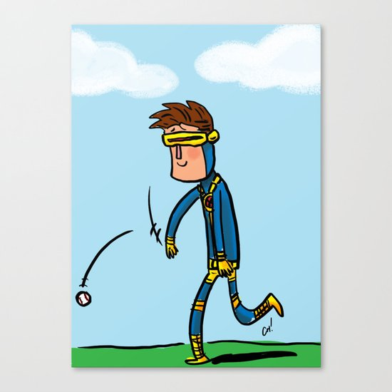 Cyclops Loves Baseball Canvas Print