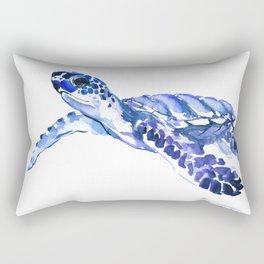 Indigo blue Sea Turtle, swimming turtle blue artwork beach house decor Rectangular Pillow