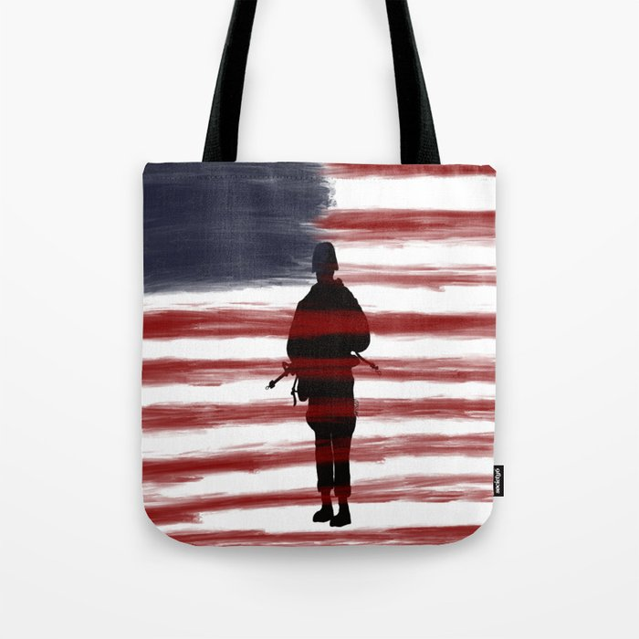 Soldier and Flag - Patriotic Tote Bag