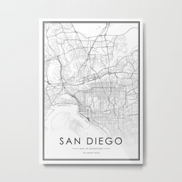 San diego City Map United States White and Black Metal Print