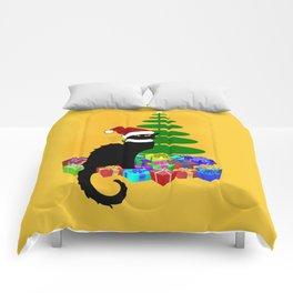 Christmas Le Chat Noir With Santa Hat Comforters