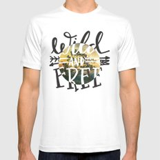 Wild and Free White MEDIUM Mens Fitted Tee
