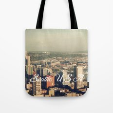 City of Seattle. View from city tower. Landscape city architecture photography. Tote Bag