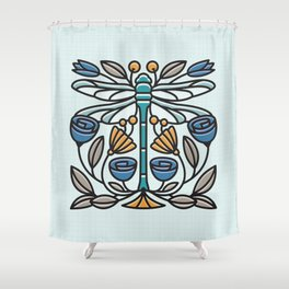 Dragonfly tile Shower Curtain