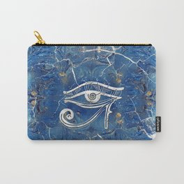Silver Egyptian Eye of Horus  on blue marble Carry-All Pouch