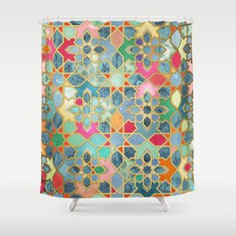 Gilt & Glory - Colorful Moroccan Mosaic Shower Curtain