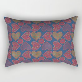 Hearts and Roses, Red Check Gingham and Polka Dots on Blue Rectangular Pillow