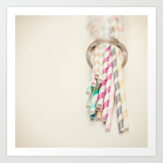 Retro Straws I  Art Print