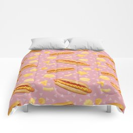 Hot Dogs and Chips - on Pink Comforters