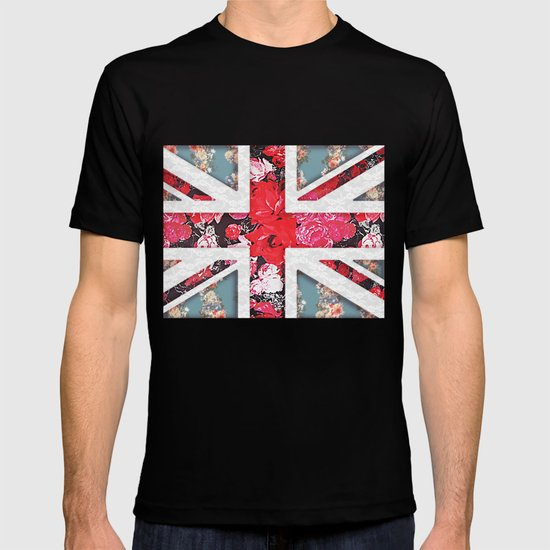 God save the Queen | Elegant girly red floral & lace Union Jack  T-shirt