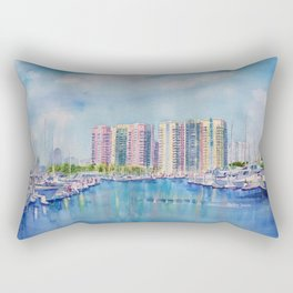 Aqua Towers and Marina in Long Beach Rectangular Pillow