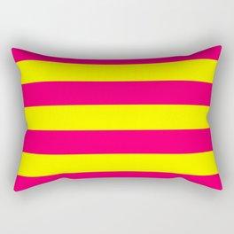 Bright Neon Pink and Yellow Horizontal Cabana Tent Stripes Rectangular Pillow