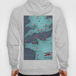 English Channel Nautical Map Hoody