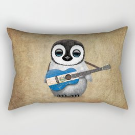 Baby Penguin Playing Salvadorian Flag Acoustic Guitar Rectangular Pillow