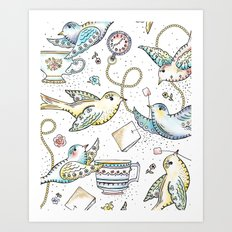Twittering Tea Party Art Print