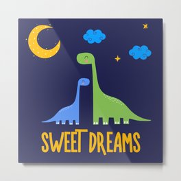 Dinosaurs At Night Rainbow Dinosaur Kids Pattern Metal Print