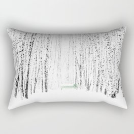 Green bench in white winter forest Rectangular Pillow