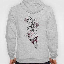 Tattoo tendril with flowers, stars and butterfly Hoody